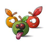 Terrible, funny apples. Death and madness. Stock Image