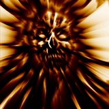 Terrible golden zombie head cover. Demon character blurred face illustration. Terrible golden zombie head cover. Wallpaper in genre of horror. Demon character Royalty Free Stock Image