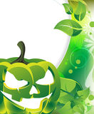 Terrible green pumpkin head Royalty Free Stock Photography