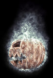 Terrible halloween pumpkin in the smoke Royalty Free Stock Photo