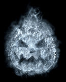 Terrible halloween pumpkin in the smoke Stock Image