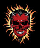 Terrible head of devil. Fire around him. Illustration for halloween Stock Image