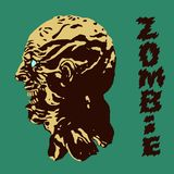 The terrible head of the zombie monster. Vector illustration. Genre of horror. Scary monster character profile Stock Photos