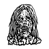 Terrible head of zombie woman. Vector illustration. Stock Images