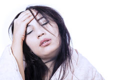 Terrible headache isolated in white Royalty Free Stock Photo