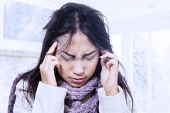 Terrible headache in winter royalty free stock images
