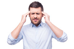 Terrible headache. Stock Images