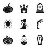 Terrible holiday icons set, simple style Royalty Free Stock Photo