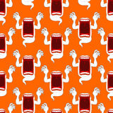 Terrible howling wraith background. Ghost seamless pattern. Mons Royalty Free Stock Images