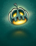 Terrible jack-o-lantern head for halloween card Royalty Free Stock Images