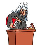 Terrible judge cartoon illustration. Terrible judge convicted criminals cartoon illustration Stock Image