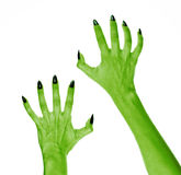 Terrible monster hand to create a collage on the theme of halloween Stock Photos