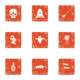 Terrible movie icons set, grunge style. Terrible movie icons set. Grunge set of 9 terrible movie vector icons for web isolated on white background Royalty Free Stock Image