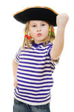 Terrible pirate girl in shirt and hat Royalty Free Stock Photo