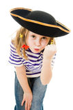 Terrible pirate girl in shirt and hat Stock Photos