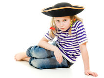 Terrible pirate girl in shirt and hat Royalty Free Stock Image