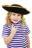 Terrible pirate girl in shirt and hat Stock Photography