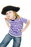 Terrible pirate little girl in shirt and hat Stock Photo