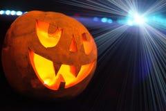 Terrible pumpkin. And blue light. halloween Stock Image