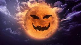 Terrible pumpkin face Halloween moon Royalty Free Stock Photo