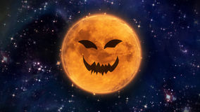 Terrible pumpkin face moon in space Royalty Free Stock Photography