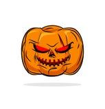 Terrible pumpkin Halloween symbol. Vegetables on a white backgro Stock Image