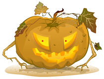 Terrible pumpkin lantern for Halloween. Holiday halloween accessories Stock Photo