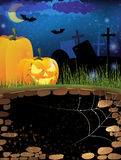 Terrible pumpkins on a night cemetery Stock Photos