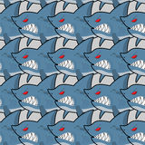 Terrible shark. Pack of sharks seamless background. Marine Patte Stock Photography