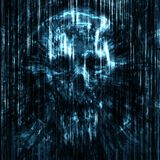 Terrible skull background into small debris. royalty free stock image
