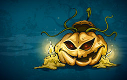 Terrible smiling face of jack-o-lantern vector illustration