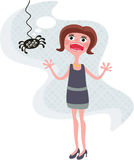 Terrible spider and the shouting girl. Royalty Free Stock Photo