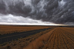 Terrible storm over rural roads Stock Images