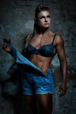 Terrible and strong woman. Terrible and strong woman with a beautiful figure royalty free stock photo