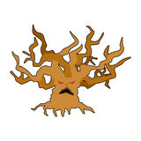 Terrible tree monster with evil eyes. Ancient tree monster with Stock Photography