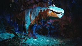 Terrible tyrannosaurus in prehistoric jungle. hight forest. Terrible tyrannosaurus in prehistoric jungle stock footage