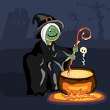 Scary witch cooking poison in cauldron at Halloween night. The terrible witch stirring the potion in the cauldron on fire Stock Photography