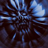 Terrible zombie dead head cover. Wallpaper in blue color. Terrible zombie dead head cover. Illustration in genre of horror. Terrible character blurred face Royalty Free Stock Photos