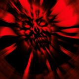 Terrible zombie dead head cover. head. Wallpaper in red. Terrible zombie dead head cover. head. Illustration in genre of horror. Danger character face. Blur Royalty Free Stock Photo