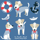 Terrier as a sailor and marine objects ison set. Stock Photo