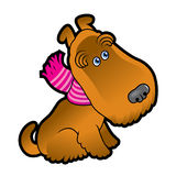 Terrier bonito dos desenhos animados que veste um lenço Fotografia de Stock Royalty Free