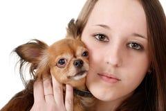 Terrier de la muchacha y de juguete Imagen de archivo