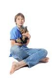 Terrier de Yorkshire y muchacho joven Fotografía de archivo libre de regalías