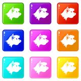 Terrier dog icons 9 set. Terrier dog icons of 9 color set isolated vector illustration Royalty Free Stock Image