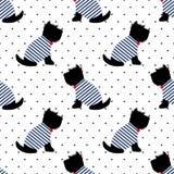 Terrier escocês em um teste padrão sem emenda do t-shirt do marinheiro Cães de assento no fundo branco dos às bolinhas Imagens de Stock Royalty Free