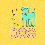 Terrier sveglio del cane di vettore Personaggio dei cartoni animati divertente dell'animale di caricatura Variopinto isolato anim illustrazione vettoriale
