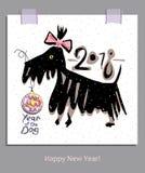 Terrier y bola divertidos dibujados mano de la Navidad ¡Feliz Año Nuevo! Imagen de archivo