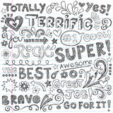 Terrific Work Praise Phrases Sketchy Doodle Encour. Super Terrific Student Praise Hand Lettering Phrases Back to School Sketchy Notebook Doodles- Hand-Drawn Stock Photos