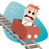 Terrified businessman in a roller coaster Royalty Free Stock Photos