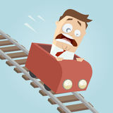Terrified businessman in a roller coaster Royalty Free Stock Images